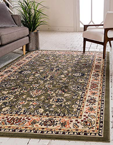 (Unique Loom Kashan Collection Traditional Floral Overall Pattern with Border Green Area Rug (7' 0 x 10' 0))