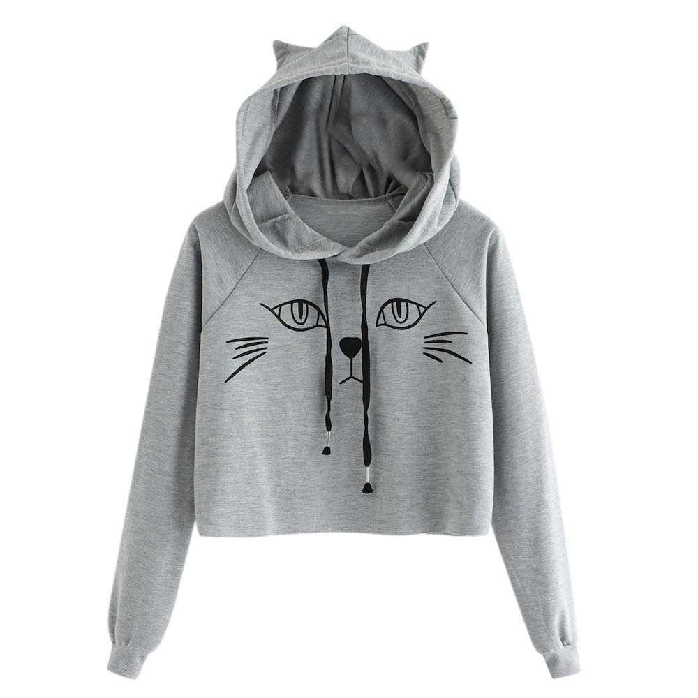 Clearance! Oliviavan Women Fashion Coat, Ladies Cat Ear Solid Long Sleeve Hoodie Sweatshirt Hooded Pullover Tops Blouse at Amazon Womens Clothing store: