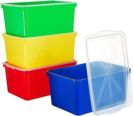 Zilpoo Cajas organizadoras de Juguetes con Tapas, contenedores de plástico apilables con Cubierta Transparente, Organizador de Aula para niños y escuelas, Juego de 4: Amazon.es: Hogar