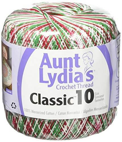 Coats Crochet Aunt Lydia's Crochet, Cotton Classic Size 10, Shades of Christmas