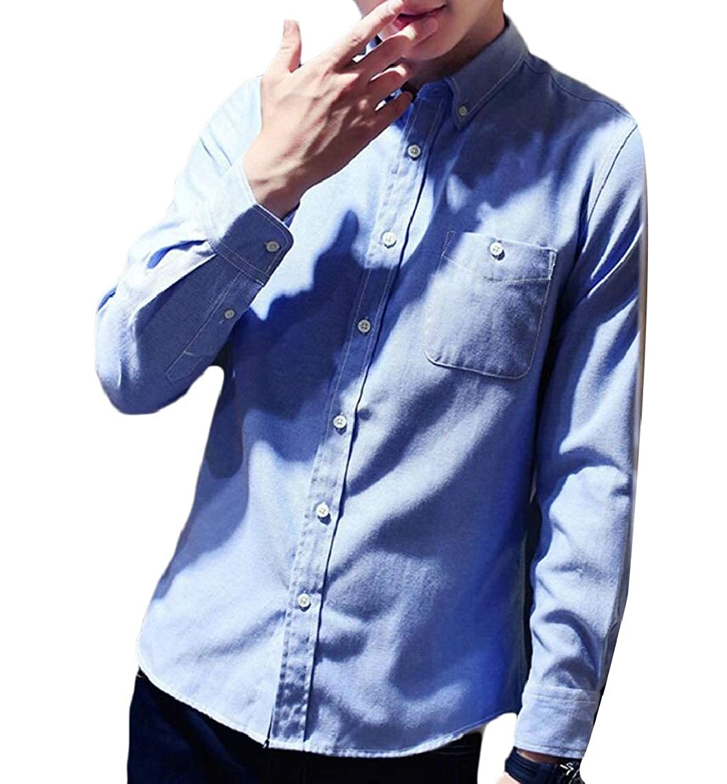 Jmwss QD Mens Solid Color Slim Fit Long Sleeve Button Down Dress Shirts