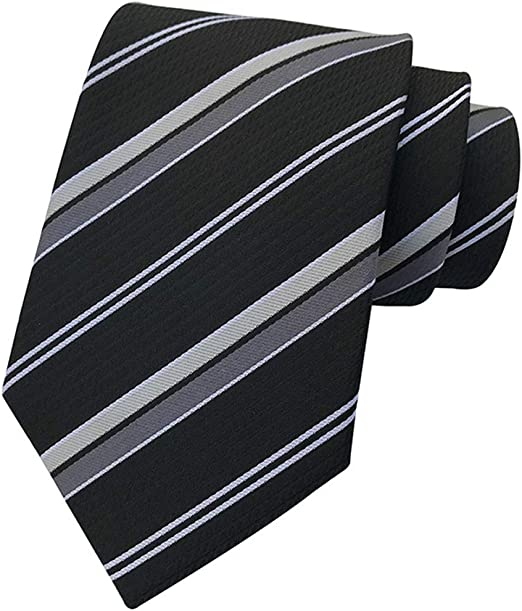 New Classic Solid Stripes Dark Gray JACQUARD WOVEN 100/% Silk Men/'s Tie Necktie