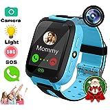 TKSTAR Kids Smart Watch with Camera Children LBS AGPS Realtime Worldwide Locator Anti Lost Waterproof Smartwatch Sim Card Voice Intercom Camera Wearable Device TKS4 (Blue)