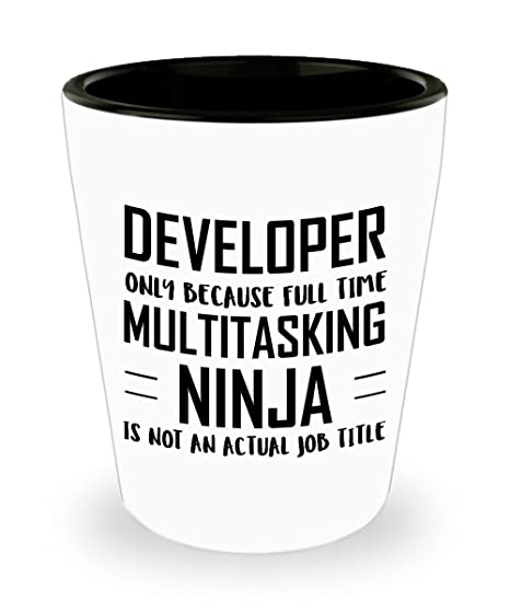 Amazon.com | Developer Shot Glass - Full Time Multitasking ...