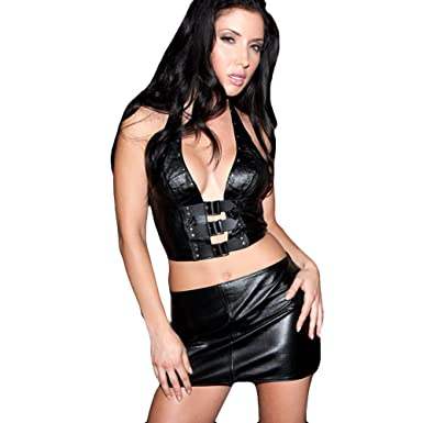 fbf0cae3e79 Amazon.com  Leather Mini Skirt (As Shown Large)  Adult Exotic Dresses   Clothing