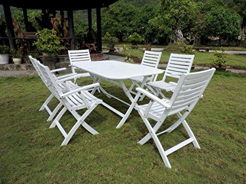 International Caravan RE-54-FA-127-6CH-AWT-IC Furniture Piece Isernia Set of 7 Acacia Wood Patio Group