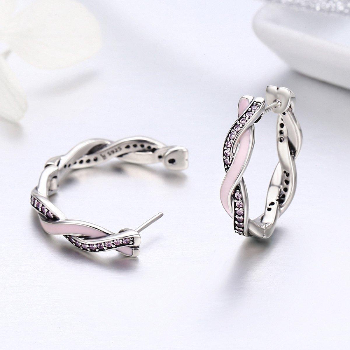 The Kiss Pink /& Clear CZ Twist Of Fate 925 Sterling Silver 925 Sterling Silver Hoop Earrings