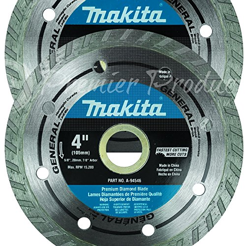 Makita 2 Pack - 4 Inch Turbo Rim Diamond Blades For Grinders - Fast Cutting For Concrete, Block & Brick - 4