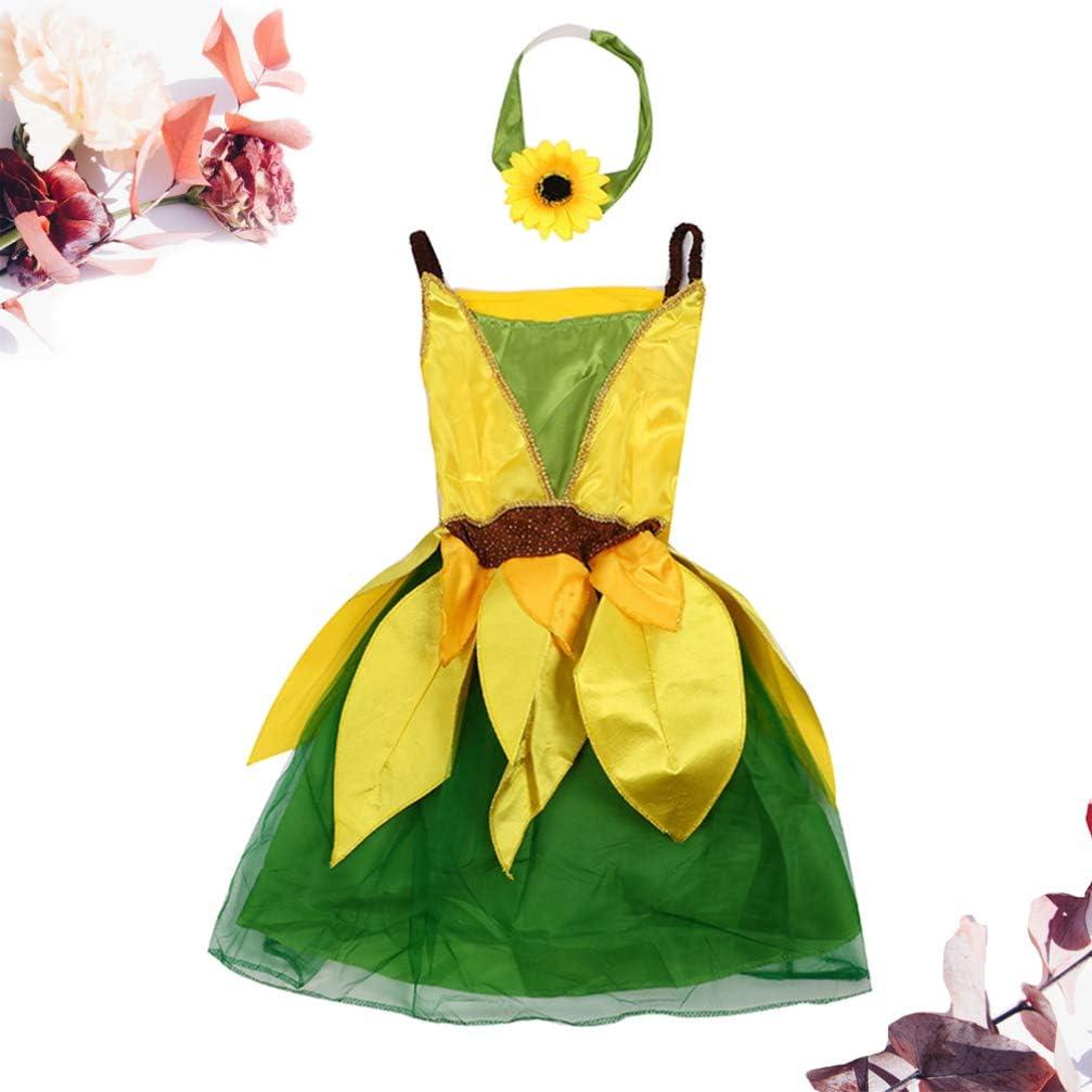 NUOBESTY Conjunto de Vestido de Girasol para Niñas Disfraz para ...