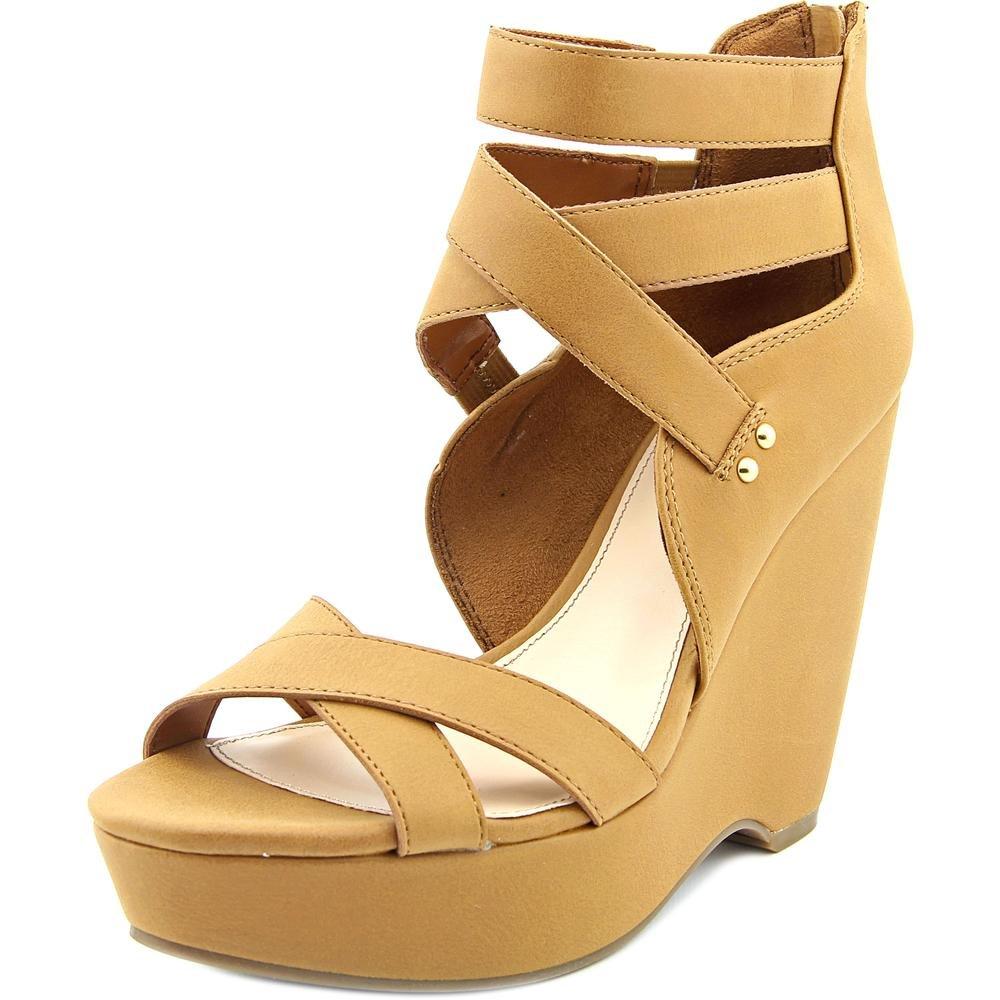 Bar III Womens Samara Open Toe Ankle Wrap Wedge Pumps B01N4CFAMV 8 B(M) US|Dark Tan