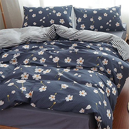 FenDie 3 Piece Duvet Cover Full Bedding Sets Floral Pattern Daisy Printed Comforter Cover Queen 2 Pillow Shams Navy Blue Reversible Striped (Daisy Printed)