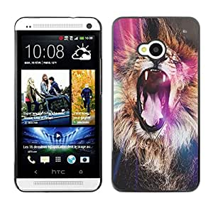 FlareStar Colour Printing Lion Purple Roar Yawn Fur Africa Abstract cáscara Funda Case Caso de plástico para HTC One M7