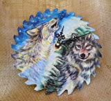 Pair of Wolves Hand Painted Saw Blade Clock