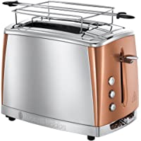 Russell Hobbs Grille Pain, Toaster Inox Luna, Technologie Cuisson Rapide, Contrôle Brunissage, Chauffe Viennoiserie Inclus - Cuivre 24290-56