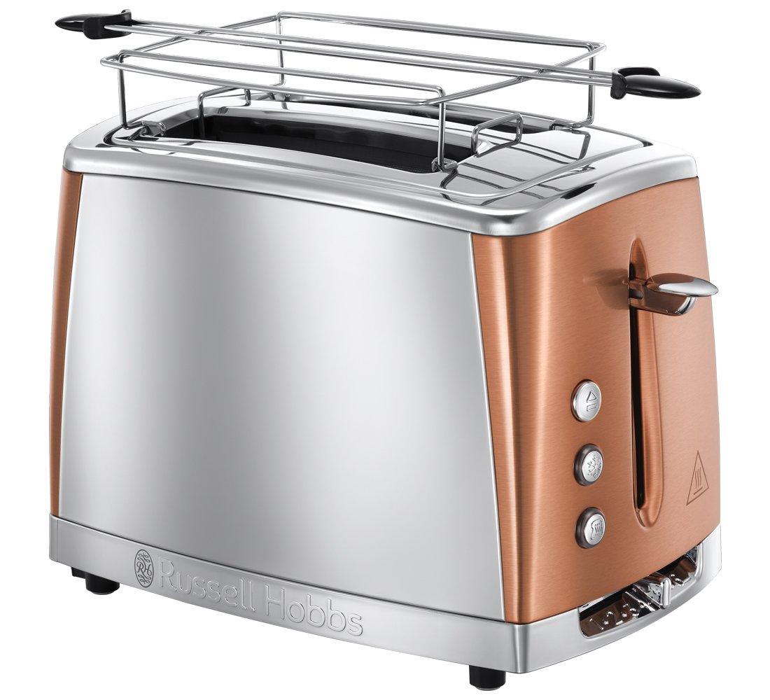 Russell Hobbs Grille Pain, Toaster Inox Luna, Technologie Cuisson Rapide, Contrôle Brunissage, Chauffe Viennoiserie Inclus - Cuivre 24290-56 product image