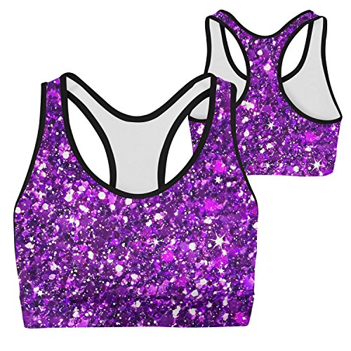 Price comparison product image Glitter Sparkles Shimmer Printing Big Girls Comfort Flex Fit Wide Strap Seamless Racerback Sports bra