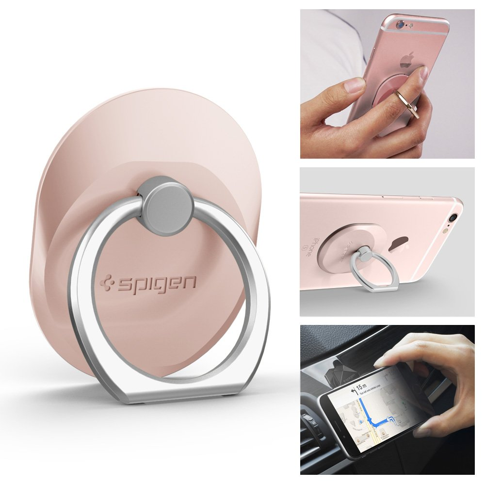 buy online a3e30 48a08 Spigen Style Ring Cell Phone Ring Phone Grip/Stand/Holder for All Phones  and Tablets - Rose Gold