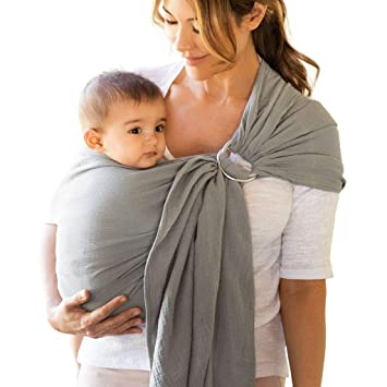 NEW WHITE MUSLIN RING SLING BABY CARRIER HANDMADE Adjustable COTTON FREE SHIP