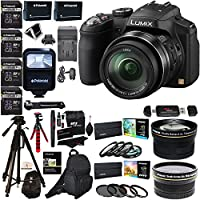 Panasonic Lumix DMC-FZ200 12.1MP Digital Camera with CMOS Sensor and 24X Optical Zoom, 2x Polaroid Lenses, 4x Poldoid 32GB, 72 Tripod, Flash, 2 Batteries, Charger, Filter Kits and Accessory Bundle