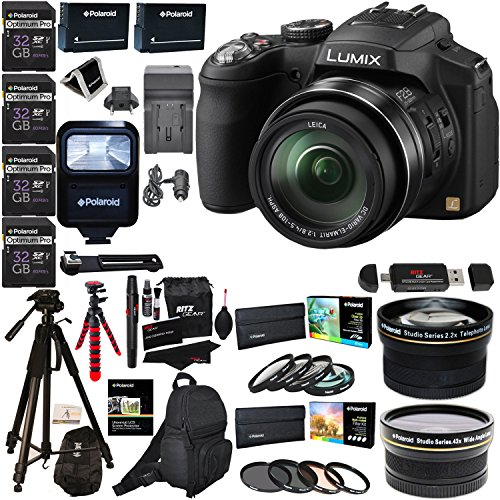 Panasonic Lumix DMC-FZ200 12.1MP Digital Camera with CMOS Sensor and 24X Optical Zoom, 2x Polaroid Lenses, 4x Poldoid 32GB, 72″ Tripod, Flash, 2 Batteries, Charger, Filter Kits and Accessory Bundle
