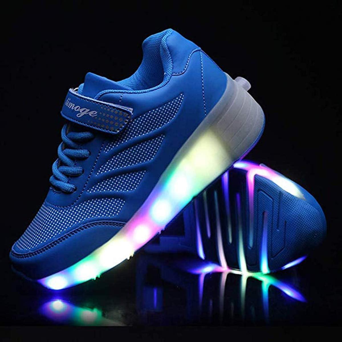 Les enfants LED chaussures avec bouton-poussoir roues chaussures de planche /à roulettes r/églable 1R/äder 2 roues chaussures de sport de gymnastique en plein air pour les jeunes filles,Black1,28