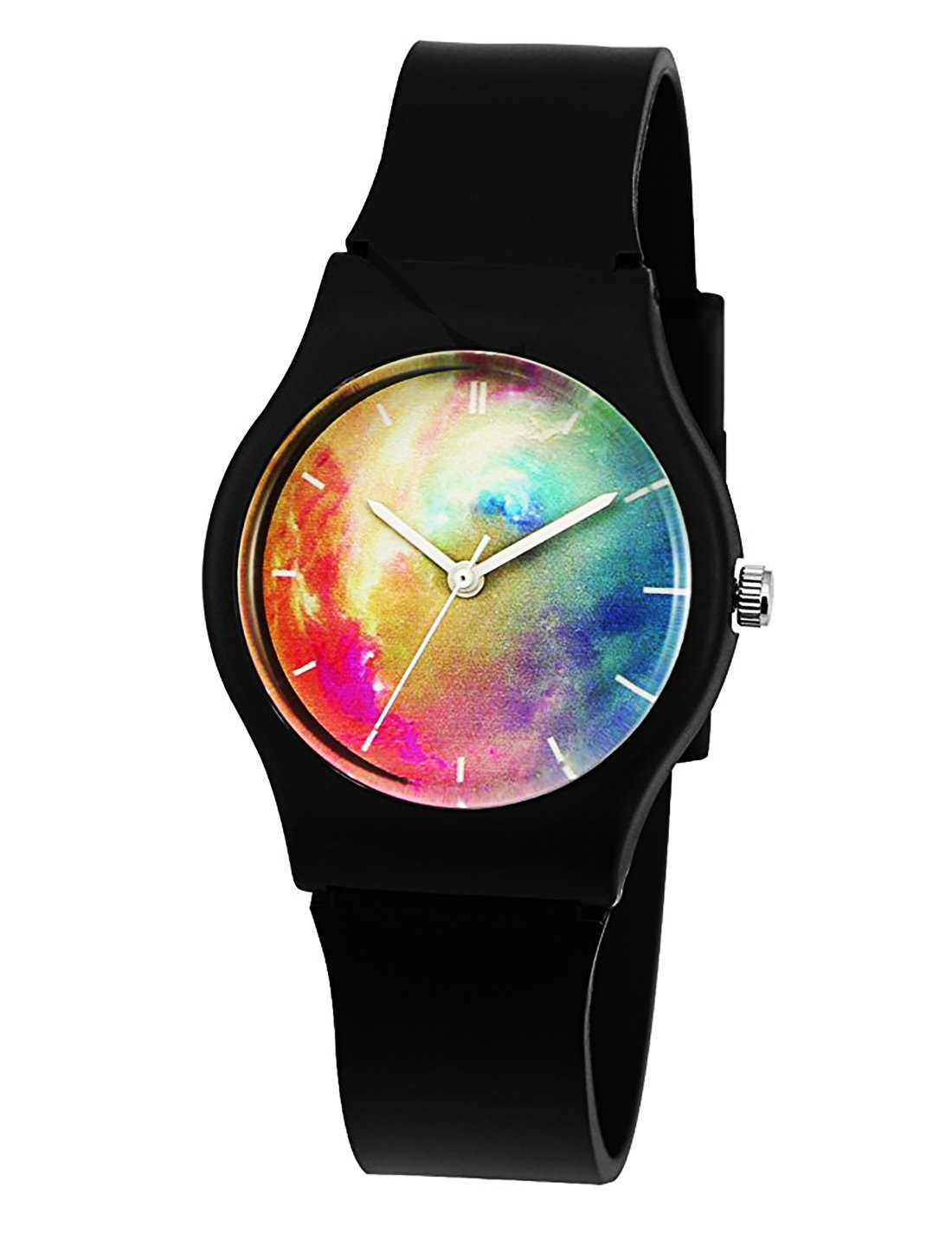 Kids Boys Girls Watches,Resin Super Soft Band Student Age 11-15 7-10 Wristwatches for Teenagers Young Girls Boys Nebula Starry(Black)