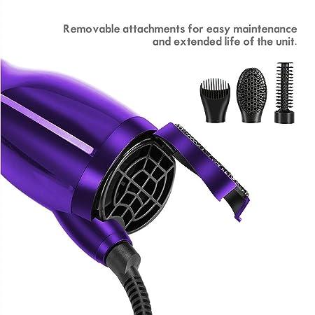 Cepillo secador de pelo, 3 en 1, difusor de secador de pelo giratorio/calentador de cerámica rizador/cabello recto, secador de ajuste fresco ajustable para ...
