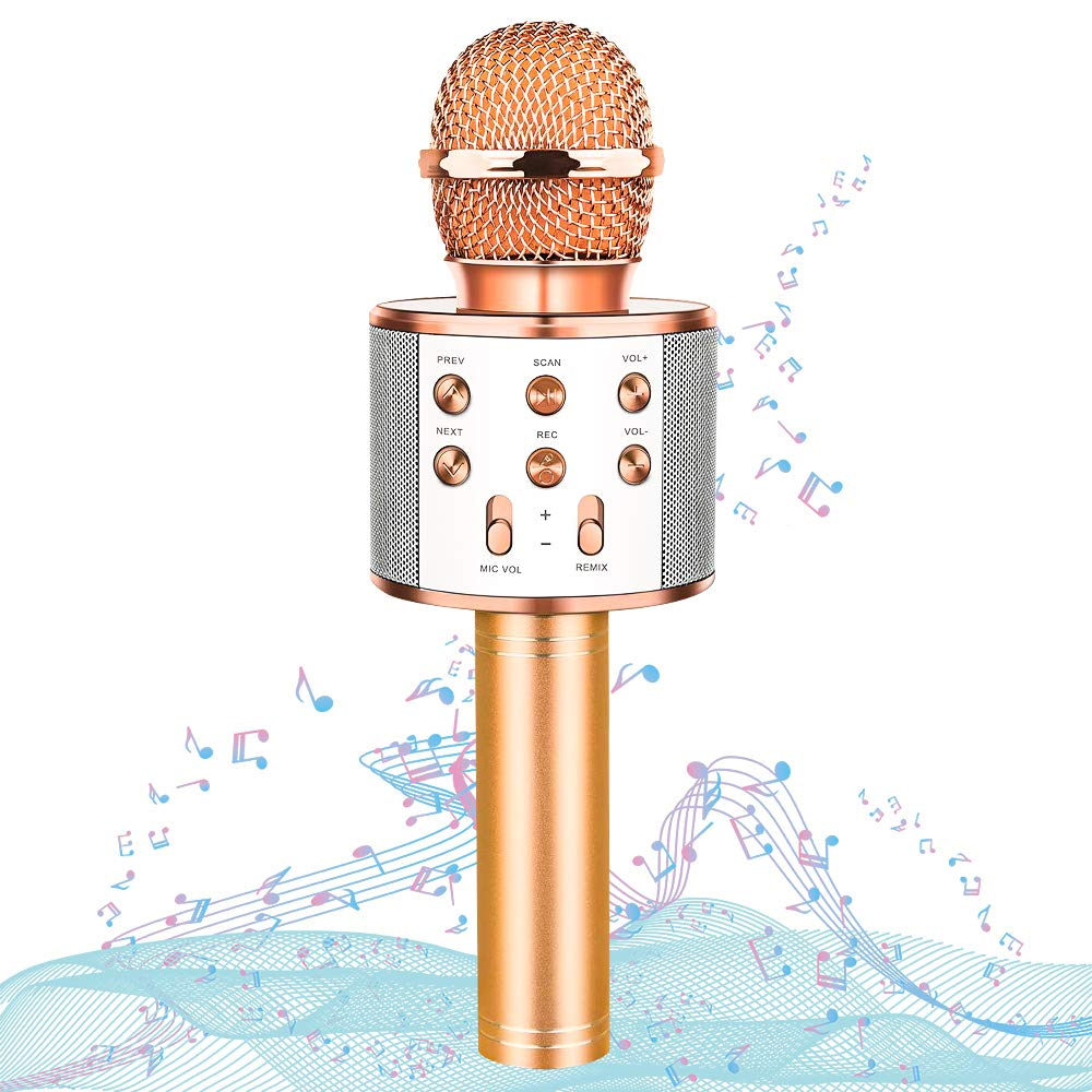HahaGift Gifts for 3-14 Year Old Girls, Microphone Idea for Kids Toy Microphone for Kids Microphone Fun Toys for 3-14 Year Old Girls Boys (Rose Gold)