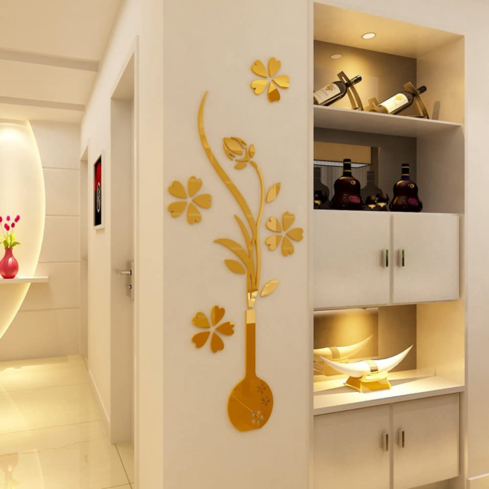 Amazon Com Heying Mirror Flower Vase 3d Crystal Acrylic Diy Wall Stickers Murals For Entranceway Living Bedroom Dining Room Decor Home Decoration 12 2 31 50 Gold Home Kitchen