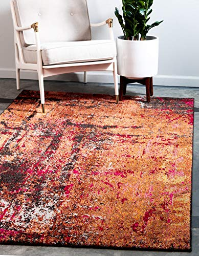 Unique Loom Estrella Collection Modern Abstract Orange Area Rug 4 0 x 6 0