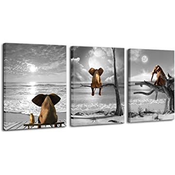 Bedroom Decor Animal Canvas Wall Art Framed Wall Decor for Bathroom Print Picture Elephant Artwork and Modern Home Decorations Ready to Hang for Home Kid Room Wall Decoration Size 12x16 Each Panel