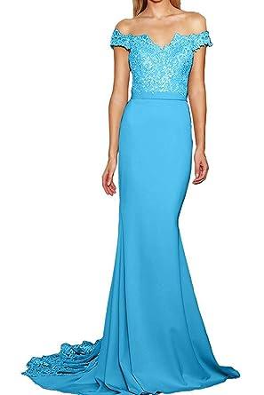 Lafee Bridal Mermaid Off Shoulder Prom Dresses Lace Long Sexy Evening Bridemdia Dress Blue Size 2