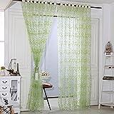 Diamondo Five Leaves Flowers Sheer Voile Door Window Curtains (Green)