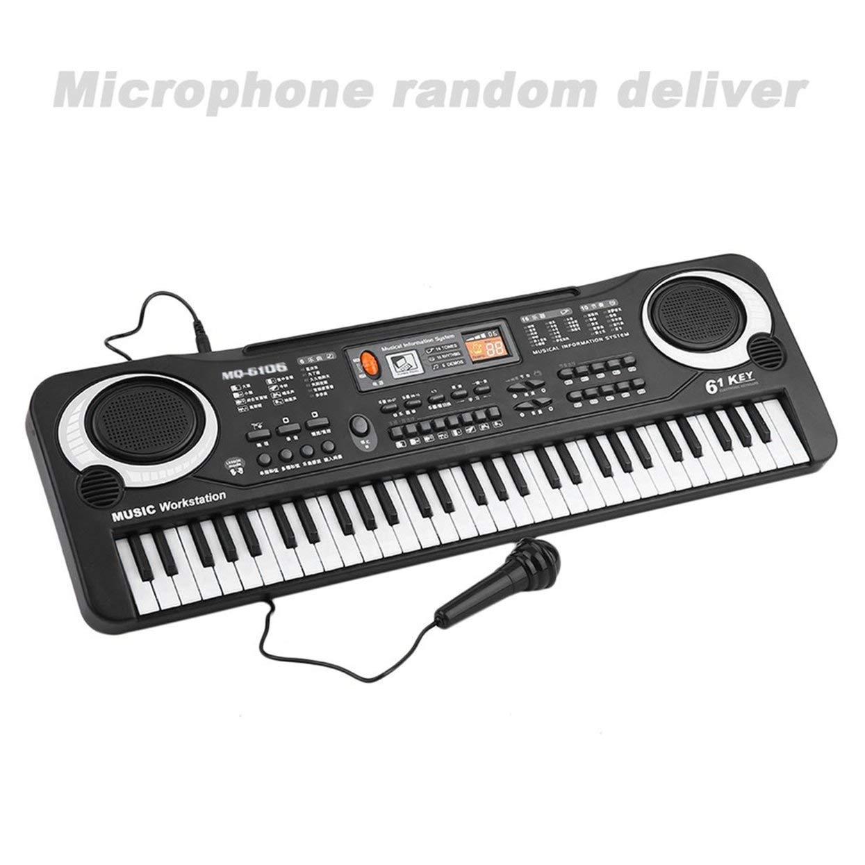 LoveOlvidoE 61 Teclas Música Electrónica Teclado Digital Órgano Eléctrico Niños Grandes Regalos con Instrumento Musical de Micrófono Aleatorio LoveOlvidoD