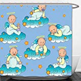 Beshowere Shower Curtain Baptism Decorations By Baptism Sitting Sleeping Crawling Smiling Babies On Clouds Catholic Children Party Decor