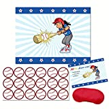 Hit the Home Run! - Girl Baseball Player Sticker Party Game - Kids baseball birthday party supplies and decoration- Pin the baseball on the bat