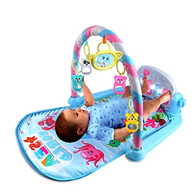 Heitaisi Baby Pedal Piano Play Gym Kick and Play Mat Toy, Newborn Baby Activity Gym Lay and Play Music Toy with Rattle Toy and Ringing Bell : Baby