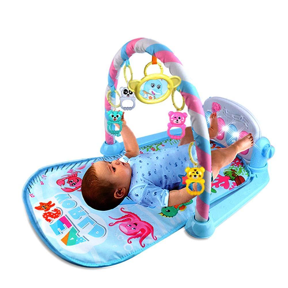 Bébé Coussin de Jeu avec Piano à Pédale et Lit Bébé Suspendu Peluche Jouet - Jeu de protection pour bébé Coussinet de jeu de Musique Sonnerie SAWEY