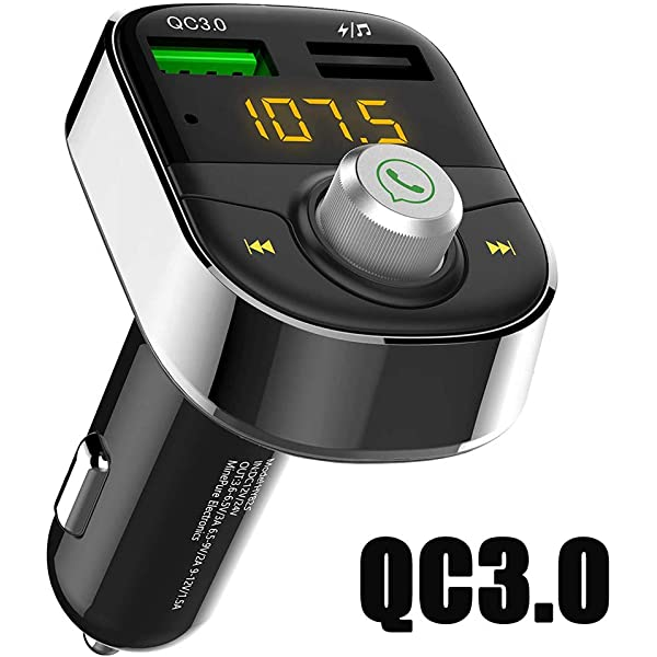 TF Card Slot AUX Port /& Hands-Free Calling Automio 4351481187 Car FM Transmitter Bluetooth Adaptor Kit Audio Receiver 2.1A USB Charger with 1.44inch Display