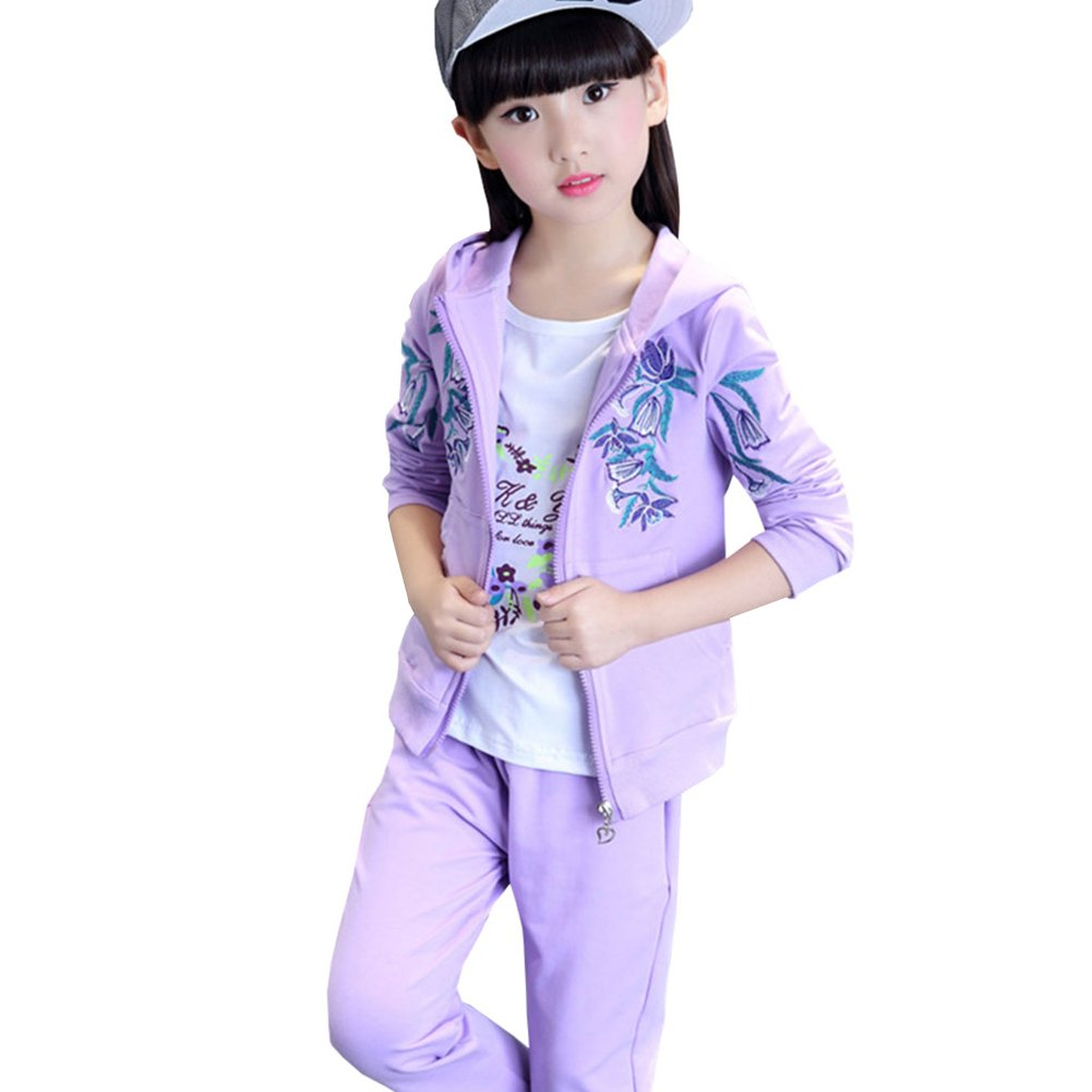 M&A Girls Fashion Floral Embroidery Hooded Jacket + Shirt + Pants Set Spring Autumn
