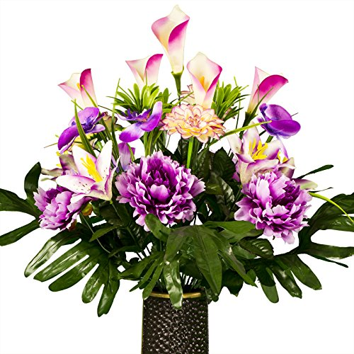 Ruby's Silk Flowers Lavender Purple Peony Lily and Orchid Artificial Bouquet, featuring the Stay-In-The-Vase Design(c) Flower Holder (SM1821)