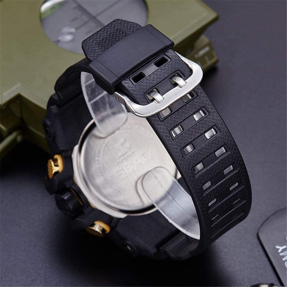 YXZQ Orologio Sportivo, cronografo con cronometro, Orologio da Polso Impermeabile da Uomo con Cinturino Inferiore in Acciaio Inossidabile Red