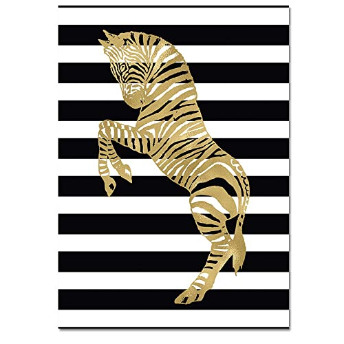 Amazon gold zebra on black and white stripes art print or gold zebra on black and white stripes art print or canvas choice of sizes altavistaventures Gallery