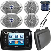 Infinity PRV350 Marine 3.5 Display Bluetooth Stereo Receiver W/ Cover, Bundle Combo With 2x 6.5 Inch - 2x 6x9 Dual-Cone Boat Speakers + Enrock Radio Antenna + 50 Foot 16-Gauge Speaker Wire