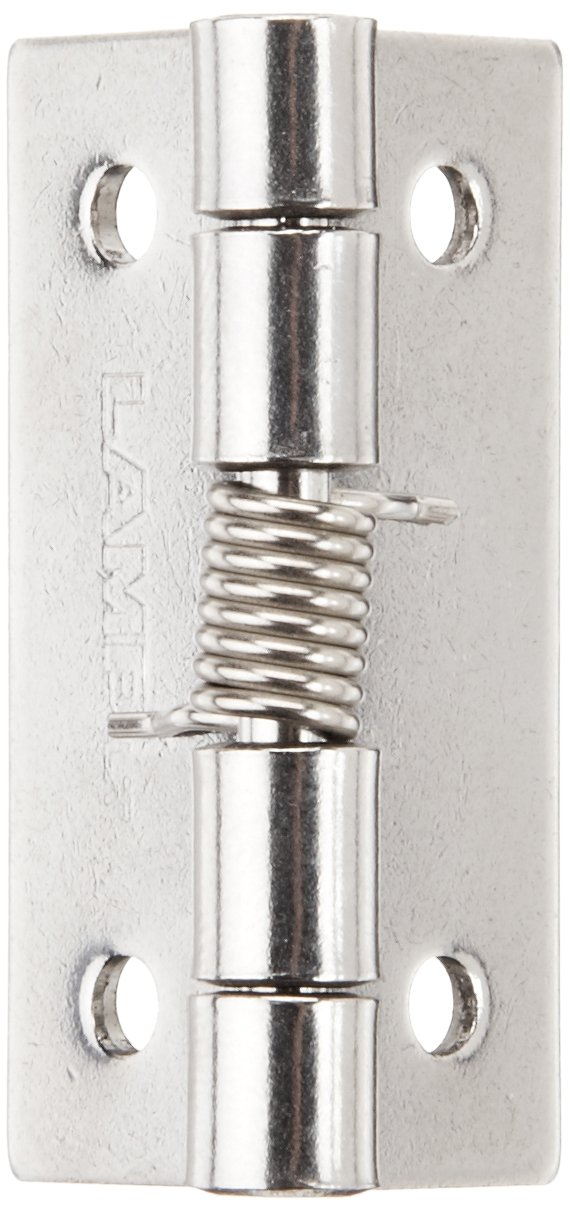 Sugatsune HG-SH38C Stainless Steel 304 Butt Hinge with Spring, Plain Finish, 1.5mm Leaf Thickness, 32mm Open Width, 6.5mm Pin Diameter, 38mm Height