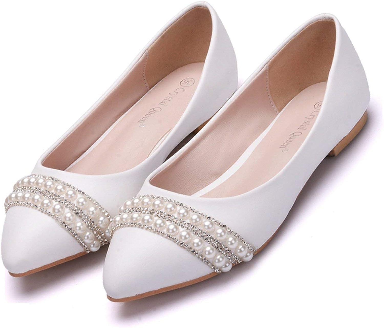 Amazon Com White Island Women Bridal Shoes Handmade Lady Pearl