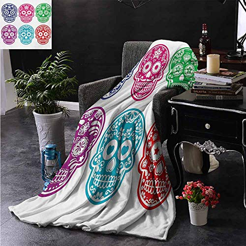 """ZSUO Warm Baby Wrapped Crib Blanket Skull Oriental Mexican Sugar for Festive Day Indoor/Outdoor, Comfortable for All Seasons 60""""x78"""" Inch"""