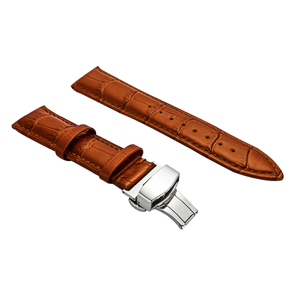 Comfortable Leather Watch Band Balck Fashion Watch Strap for Mens 20mm