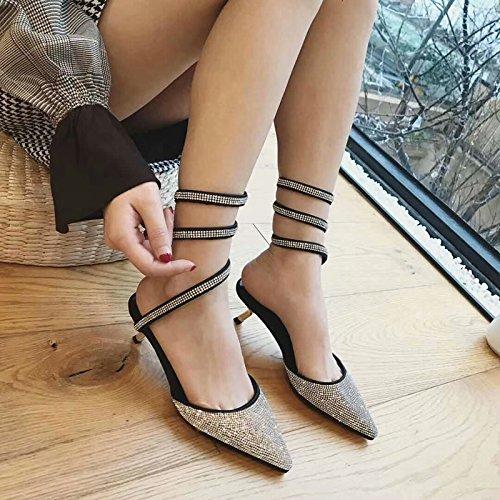 (GTVERNH Women'S/Ladies/Fashion/Summer/Luxury Water Drill Sequine Street Girl Wind High Heel Shoes Fashion Street Snake Belt Pointed Head Sandals Women)