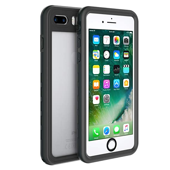 check out 37524 40f4f Fansteck Waterproof Case for iPhone 8 iPhone 7, IP68 Full-Body Protect  Rugged Slim Crystal Case with Built-in Screen Protector, ...